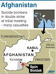 Map locating the town of Spin Boldak, south of Kandahar, where many were killed or injured in double suicide bomb attack. Two suicide bombers struck a meeting of community leaders in a southern Afghan town near the Pakistan border on Sunday, killing at least five people and wounding 15, officials said