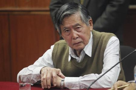 Lawyer Castillo speaks to the judge as his client, Peru's former President Fujimori, attends to court due to his request to serve the rest of his sentence under house arrest in Lima