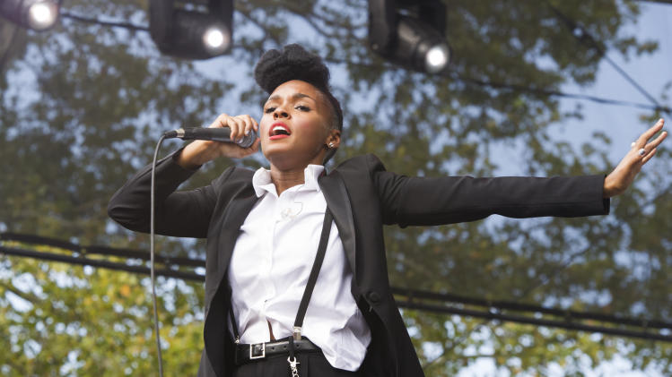 "Janelle Monae performs at the ""Made In America"" music festival on Saturday, Sept. 1, 2012, in Philadelphia, PA. (Photo by Charles Sykes/Invision/AP)"