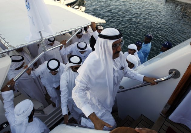 United Arab Emirates Finance Minister Sheikh Hamdan bin Rashid al-Maktoum boards the royal yacht Al Fahedi