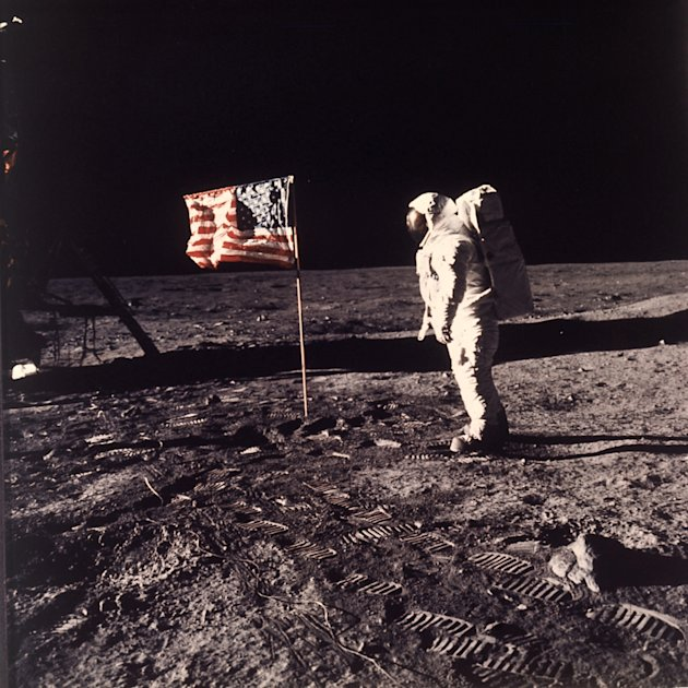 This July 20, 1969 file photo released by NASA shows astronaut Edwin E.