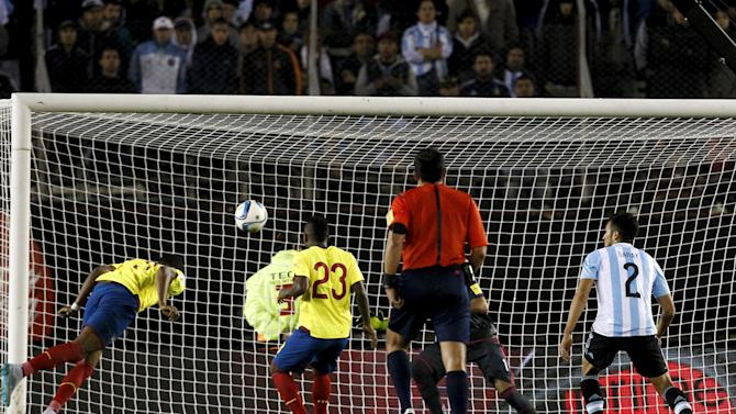 Ecuador's Erazo scores a goal during their 2018 World Cup qualifying soccer match against Argentina in Buenos Aires, Argentina