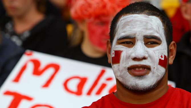A Togan fan in the crowd prior to the Rugby World Cup match between France and Tonga in Wellington, New Zealand, Saturday Oct. 1, 2011. (AP Photo/Junji Kurokawa)