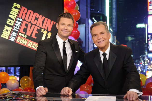 FILE - In this file image provided by ABC, Dick Clark, right, and Ryan Seacrest are shown in New York. As New Year&#39;s Eve nears, Seacrest is focused on getting ready for the show, which, with related programming, will blanket ABC from 8 p.m. until past 2 a.m. EST. This will be Seacrest&#39;s eighth New Year&#39;s Eve turn for ABC. But it&#39;s his first since Clark&#39;s death last April at age 82. (AP Photo/ABC, Ida Mae Astute, File)