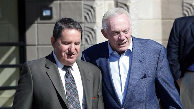 Dallas Cowboys owner Jerry Jones, right, arrives for NFL football annual meetings at the Arizona Biltmore, Monday, March 18, 2013, in Phoenix. (AP Photo/Matt York)