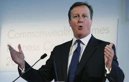 Britain's Prime Minister Cameron speaks at the Commonwealth Games Business Conference in Glasgow, Scotland