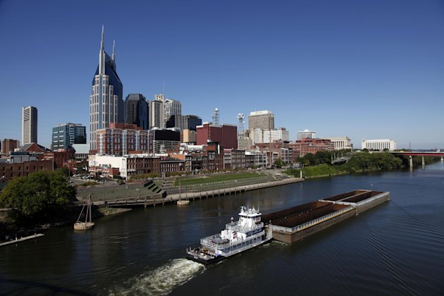 The Cumberland River and downtown Nashville, Tenn. (AP Photo/Mark Humphrey, File)