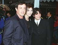 Sylvester Stallone with his girlfriend and his son Sage at the premiere of &#39;Daylight in Los Angeles in December 1996
