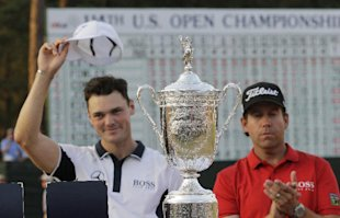 Martin Kaymer and Erik Compton pose with trophy after Kaymer won the U.S. Open. (AP)