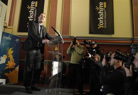 Tour De France race director Christian Prudhomme announces the route of the 2014 tour&#39;s Grand D&#39;epart during a media conference in Leeds, northern England January 17, 2013. REUTERS/Nigel Roddis