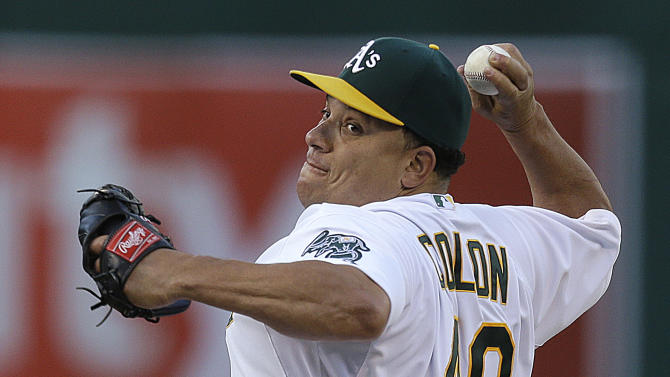 Oakland Athletics' Bartolo Colon pitches against the Texas Rangers in the first inning of a baseball game Tuesday, May 14, 2013, in Oakland, Calif. (AP Photo/Ben Margot)