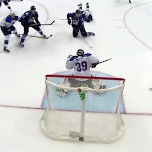 Miller stops Landeskog's shot with his mask