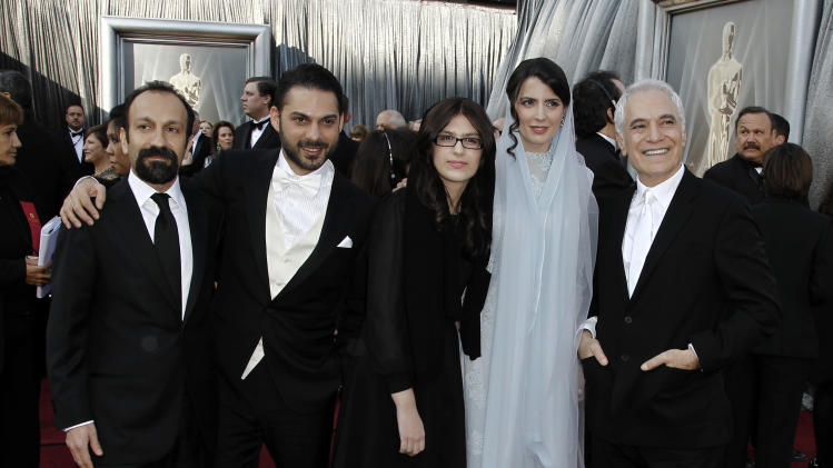 From left, Asghar Farhadi, Peyman Moadi, Sarina Farhadi, Leila Hatami and Mahmoud Kalari arrive before the 84th Academy Awards on Sunday, Feb. 26, 2012, in the Hollywood section of Los Angeles. (AP Photo/Matt Sayles)