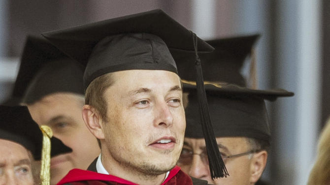"""SpaceX CEO and Chief Designer Elon Musk waits to deliver the commencement address for Caltech graduates in Pasadena, Calif. Friday, June 15, 2012. Fresh off SpaceX's historic return from the International Space Station, Musk said Friday that he would like to see humans settle Mars and become a """"multi-planet species."""" The 40-year-old entrepreneur reiterated his vision to graduates at the California Institute of Technology, a private university 10 miles northeast of Los Angeles known for its science and engineering programs. (AP Photo/Damian Dovarganes)"""
