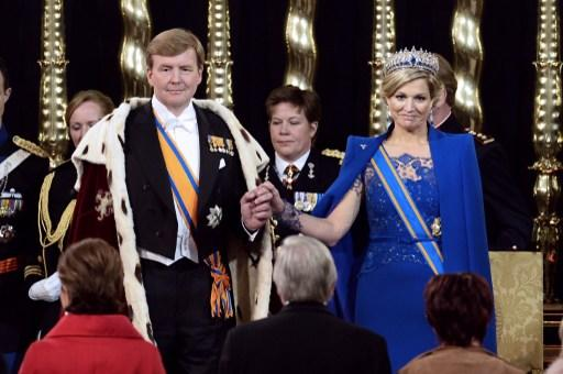 Dutch King Willem-Alexander, Queen Maxima and members of the royal household during the inauguration for King Willem-Alexander of the Netherlands at Nieuwe Kerk (New Church) in Amsterdam on April 30,