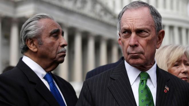 New York City Mayor Michael Bloomberg and congressmen push for new gun legislation in Washington D.C. in March 2011.