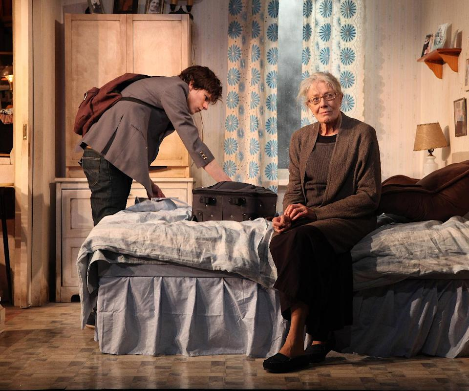 "This theater image released by Richard Kornberg & Associates shows Jesse Eisenberg, left, and Vanessa Redgrave during a performance of ""The Revisionist,"" in new York. (AP Photo/Richard Kornberg & Associates, Sandra Coudert)"