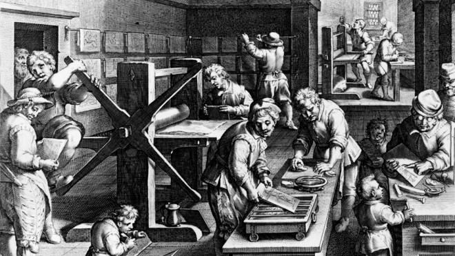 Before the printing press, seen here circa 1500, English words were spelled rather flexibly.