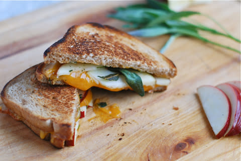 Grilled Cheese with Fried Sage and Apples