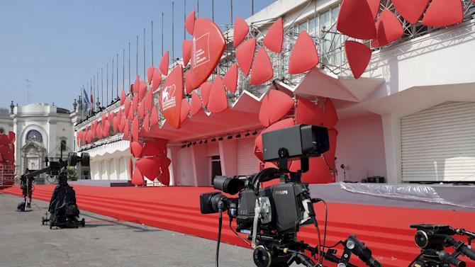 Camera is seen in front the entrance of the venue for the 72nd Venice Film Festival in Venice