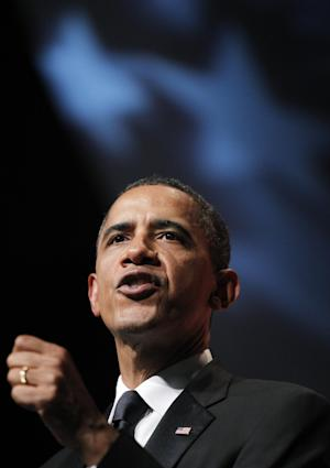 President Barack Obama delivers his remarks at the Congressional Black Caucus Foundation Foundation Annual Phoenix Awards in Washington Saturday Sept. 24, 2011. (AP Photo/Manuel Balce Ceneta)