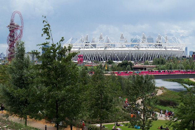View of the Main Stadium and Orbit from within the Olympic Park