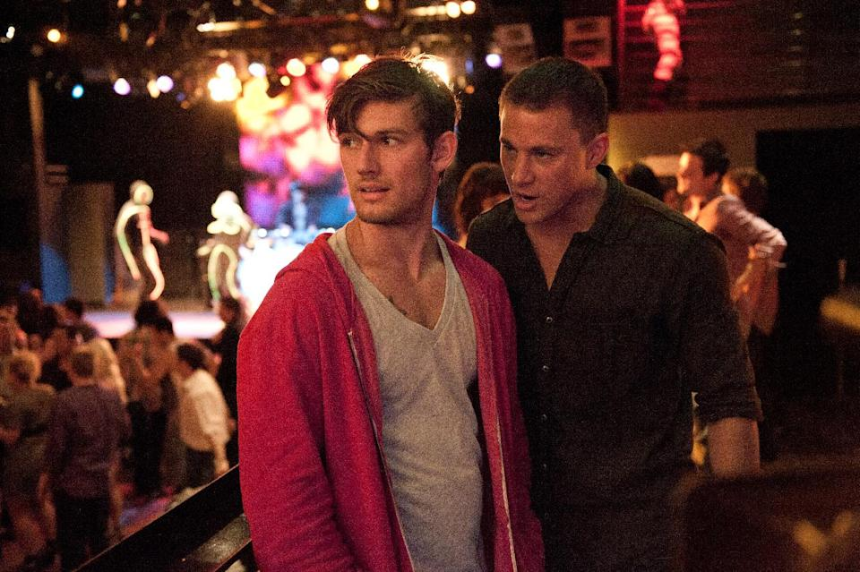 "This film image released by Warner Bros. shows Alex Pettyfer, left, and Channing Tatum in a scene from ""Magic Mike."" (AP Photo/Warner Bros., Claudette Barius)"