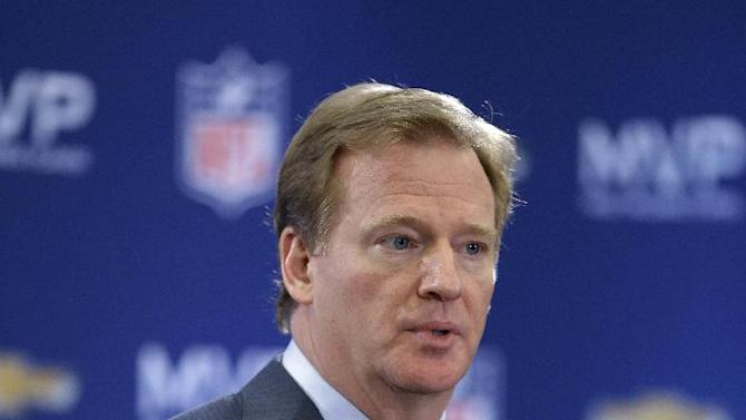 NFL Commissioner Roger Goodell speaks during a news conference after NFL Super Bowl XLVII football game Monday, Feb. 4, 2013, in New Orleans. The Ravens defeated the San Francisco 49ers 34-31. (AP Photo/Darron Cummings)