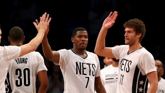Photo of Brook Lopez & his friend basketball player  Joe Johnson - Nets