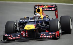Red Bull driver Sebastian Vettel of Germany steers his car during the qualifying session at the Interlagos race track in Sao Paulo, Brazil, Saturday, Nov. 24, 2012. McLaren Mercedes driver Lewis Hamilton won the pole position for the season-ending Brazilian Grand Prix, while championship leader Sebastian Vettel will start fourth and title challenger Fernando Alonso only eighth.(AP Photo/Andre Penner)