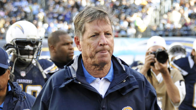 FILE - In this Dec. 30, 2012, file photo, San Diego Chargers head coach Norv Turner leaves the field at the end of the first half of an NFL football game against the Oakland Raiders in San Diego. The Chargers fired Turner and general manager A.J. Smith on Monday, Dec. 31, after missing the playoffs for the third straight season. (AP Photo/Denis Poroy, File)