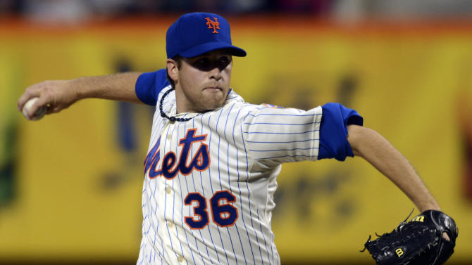 New York Mets pitcher Collin McHugh delivers to the Washington Nationals in the first inning of a baseball game at Citi Field in New York, Monday, Sept. 10, 2012. (AP Photo/Henny Ray Abrams)