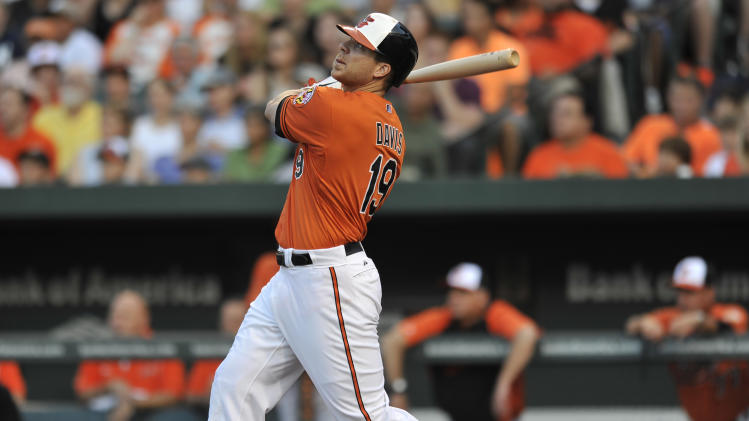 Baltimore Orioles' Chris Davis follows through on a three-run home run against the New York Yankees in the first inning of a baseball game, Saturday, June 29, 2013, in Baltimore. (AP Photo/Gail Burton)