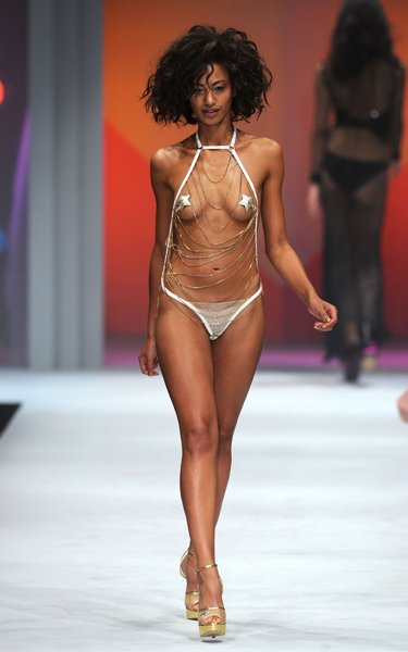 Model on the Lingerie London catwalk  Rex