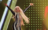 "Lady Gaga performs onstage during the Rolling Stones final concert of their ""50 and Counting Tour"" in Newark, New Jersey, December 15, 2012. REUTERS/Carlo Allegri/Files"