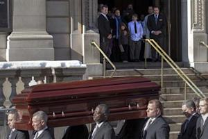 The casket is carried following the funeral for actor Phillip Seymour Hoffman in the Manhattan borough of New York