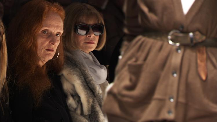 "FILE - This photo released by Roadside Attractions shows Grace Coddington, left, Creative Director, VOGUE; and Anna Wintour, Editor-in-Chief, VOGUE, right in ""The September Issue"", a film by RJ Cutler. Coddington is the author of a book titled, ""Grace: A Memoir,"" released Nov. 20, 2012 by Random House. (AP Photo/Roadside Attractions, file)"