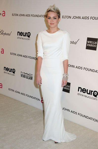 Best dressed: Miley Cyrus The former Disney star Azzaro Elton John AIDS Foundation Party Image  Rex