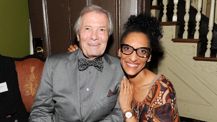 "IMAGE DISTRIBUTED FOR CHASE SAPPHIRE PREFERRED - Taste America honorary chair, chef Jacques Pepin, left, and chef Carla Hall attend the kick-off event for the James Beard Foundation's ""Taste America"" traveling food festival presented by Chase Sapphire Preferred Visa Signature at the James Beard House on Wednesday, June 12, 2013 in New York City, New York. (Photo by Evan Agostini/Invision for Chase Sapphire Preferred/AP Images)"