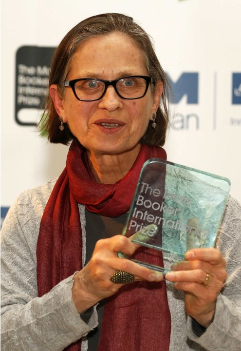 U.S. author Lydia Davis poses after winning the Man Booker Prize at the V&A Museum in London