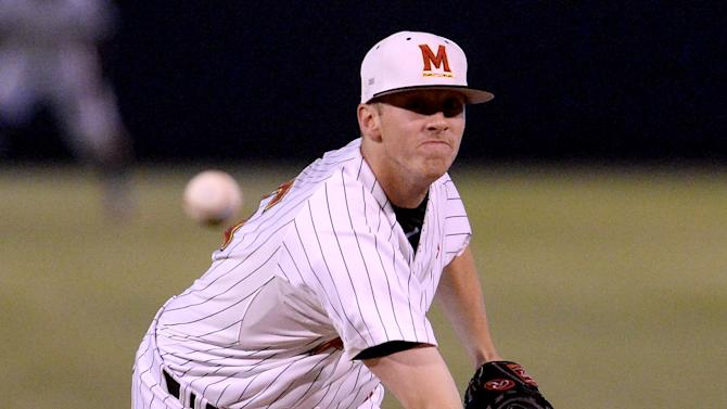 Maryland's starting pitcher Taylor Bloom in the second inning of a NCAA college baseball tournament regional game against UCLA in Los Angeles on Monday, June 1, 2015.  (AP Photo/Jayne Kamin-Oncea)