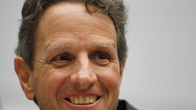 FILE - In this Wednesday, Sept. 22, 2010, file photo, Secretary of the Treasury, Timothy Geithner testifies before the House Financial Services Committee, about the state of the international Financial system, including international regulatory issues relevant to the implementation of the Dodd-Frank Act, on Capitol Hill in Washington. Geithner said the massive bill would accomplish its primary objective of building more safeguards against the kind of financial collapse that had cost millions of jobs and sent the country into the worst recession since the Great Depression. (AP Photo/Alex Brandon, File)