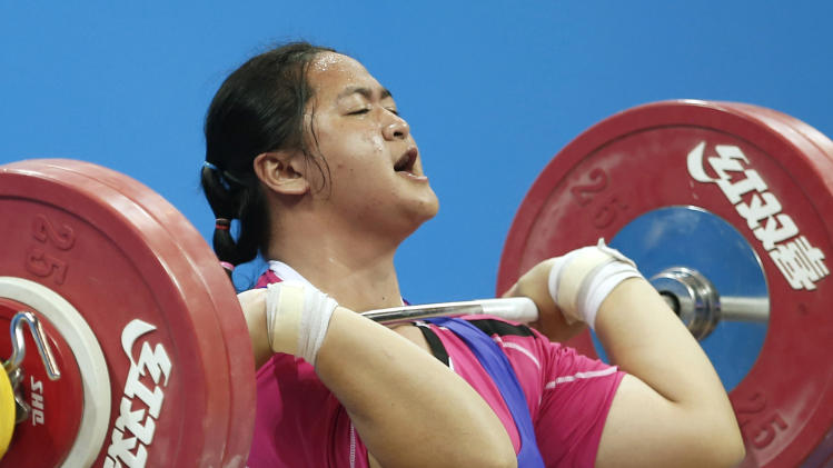 Thailand's Duanganksorn competes during the women's +63kg weightlifting final at the 2014 Nanjing Youth Olympic Games in Nanjing