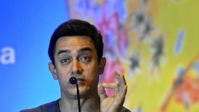Indian Bollywood actor Aamir Khan speaks during an event where he was appointed as the UNICEF ambassador promoting nutrition for children, in New Delhi, India, Wednesday, Nov. 30, 2011. (AP Photo/Tsering Topgyal)