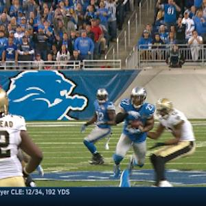 New Orleans Saints quarterback Drew Brees intercepted by Detroit Lions safety Glover Quin