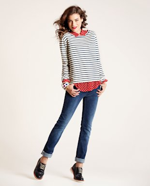 Model in slim jeans and striped shirt, Jan 13, p40