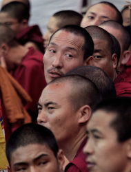 Tibetan exile monks sit on a daylong hunger strike in New Delhi, India, to express solidarity with the plight of the Tibetan people in Tibet, Tuesday, Oct. 18, 2011.A Tibetan nun has set herself on fire in western China, the latest in a series of self-immolations among the region&#39;s Buddhist clergy, an advocacy group said Tuesday. (AP Photo/Manish Swarup)