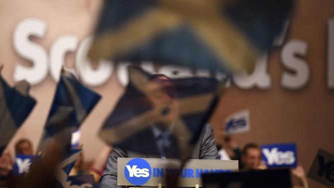 "Scotland's First Minister Salmond speaks at a ""Yes"" campaign rally in Perth, Scotland"