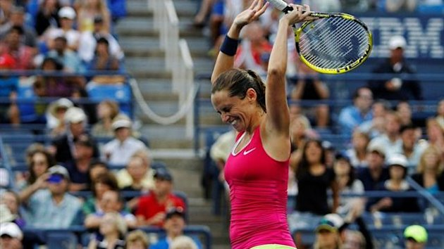 Roberta Vinci of Italy celebrates after defeating Agnieszka Radwanska of Poland (Reuters)