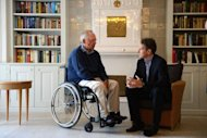 "US Treasury Secretary Timothy Geithner (R) talks to German Finance Minister Wolfgang Schaeuble at the Hotel ""Faehrhaus Munkmarsch"" on the German North Sea island of Sylt"